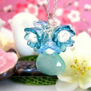 Blue chalcedony cherry blossom silver necklace
